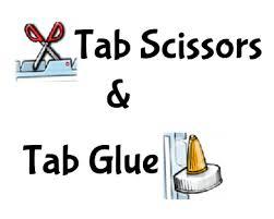 tab scissors and glue